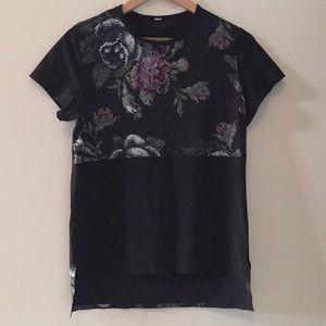 Lululemon Black with Flowers Short sleeve Top